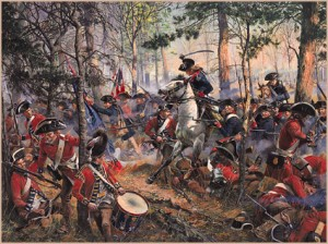 The American Militia and Regulars driving the British Off
