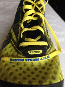 Reebok gave us these  laces to commemorate last years bombings.