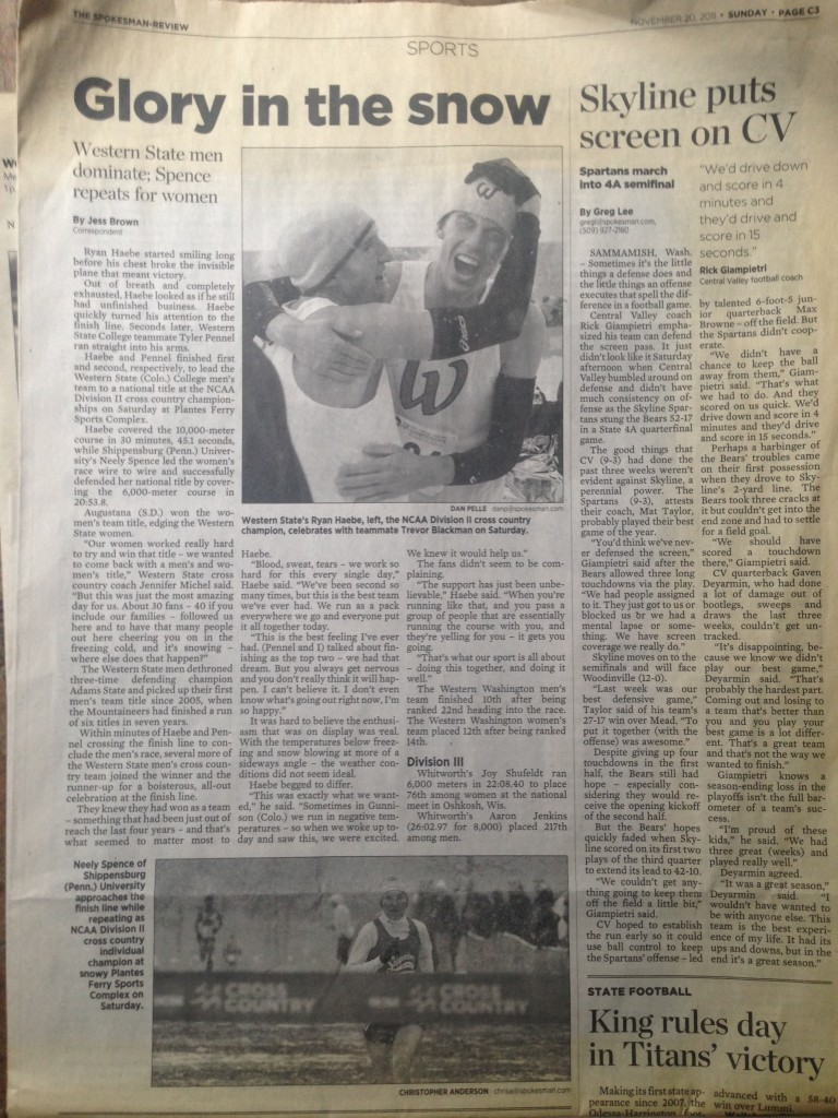 An article I found in the basement from my (super) senior at Western. WE WON!!