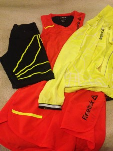 Our new Reebok racing kit arrived, just in time for the race! Cole and I are going to be looking fly our there!