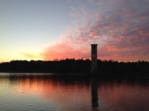 Sunset on the Furman Lake and Bell Tower.