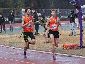 John and me finishing Raleigh Relays. 3:48.71, good enough for a new PR!