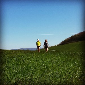 Andrew and I finishing our climb at the Moses Cone Grave. It was a great day for a workout!