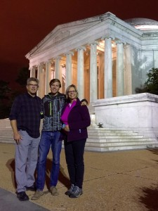Me and the parents at the Jefferson Memorial. The lighting was awesome right at dusk!