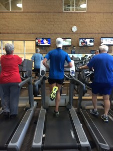Hitting up the Community Center with the old folks! 21 miles on the ol' treadmill.