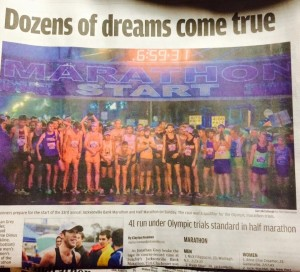Front page of the sports section on Monday! Even over football!